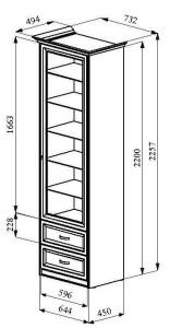 шкаф_витрина_чертеж_размеры_700_венеция_недорого