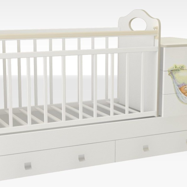 Кроватка_трансформер_маруся_кровать_для_новорожденных_недорого_рисунок_мишка_в_гамаке