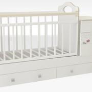Кроватка_трансформер_маруся_кровать_для_новорожденных_недорого_рисунок_мишка_дерево_шашки